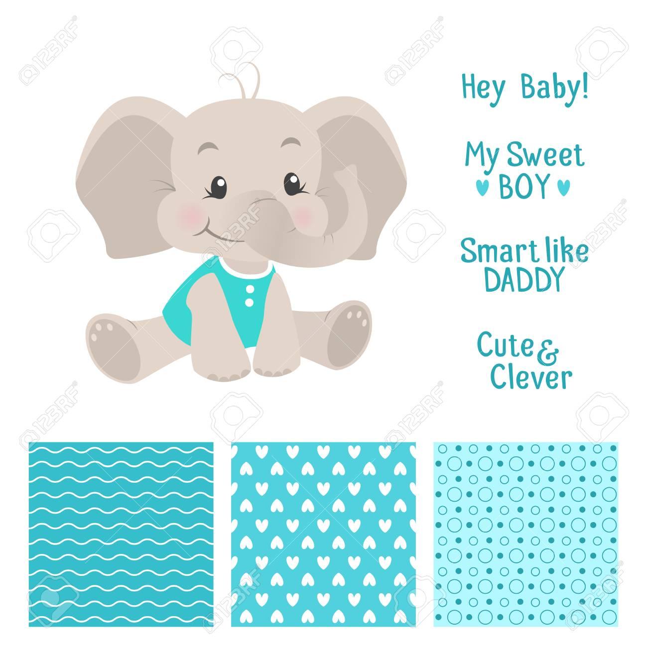Bebé Niño Diseño Elefante Establece Con Patrones De Costura ...