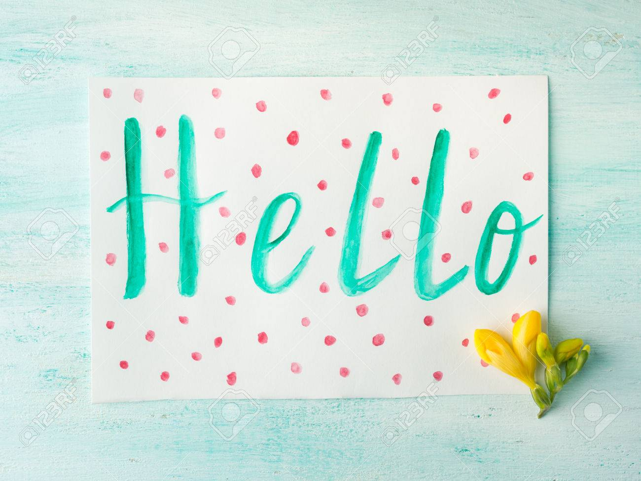 Hello Word Spelling By Watercolor Hand Lettering Yellow Flowers ...