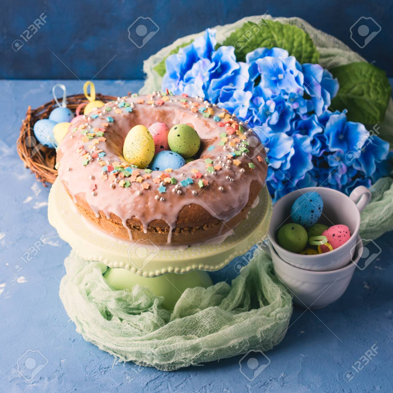 Easter Bundt Ring Cake With Sugar Frosting Sprinkles Decorations