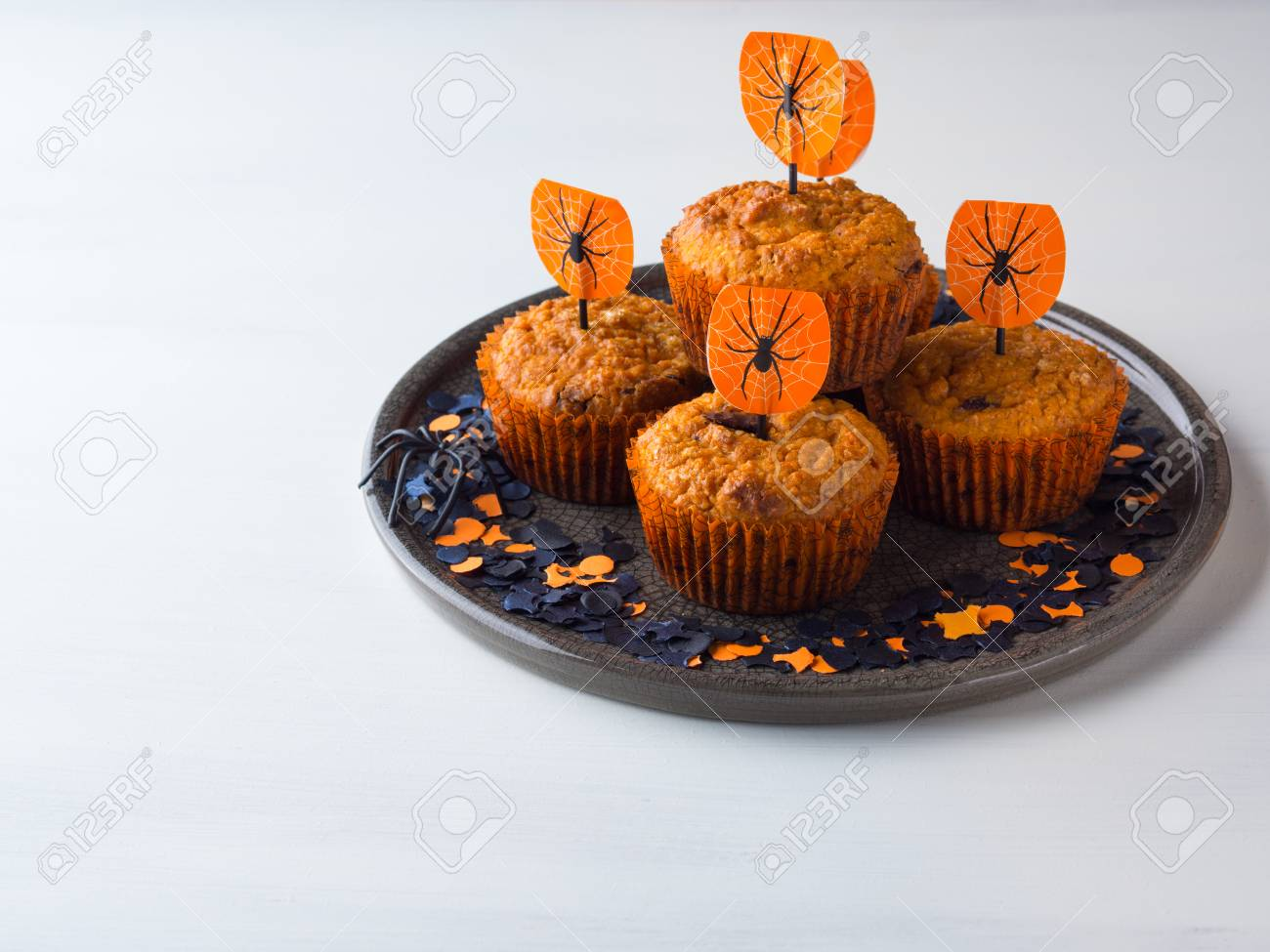 Pumpkin Muffins With Chocolate Chips For Halloween Kids Party