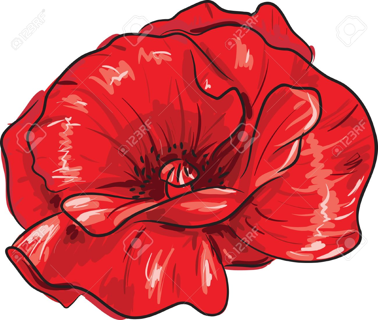 Red poppy flower freehand style painting stock photo picture and red poppy flower freehand style painting stock photo 5735164 mightylinksfo