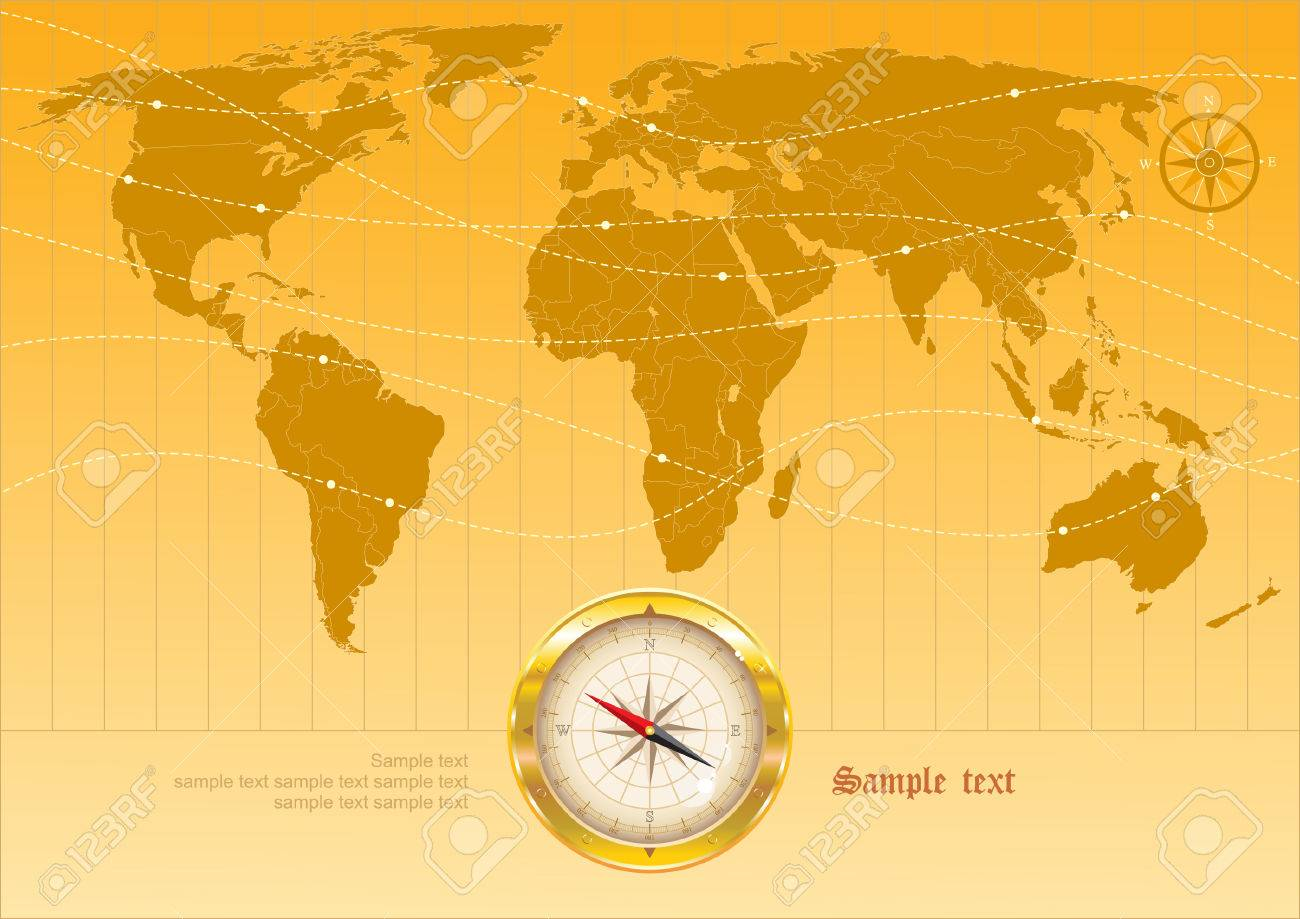 Map Of The World With Compass.Background With Map Of The World And Compass Royalty Free Cliparts