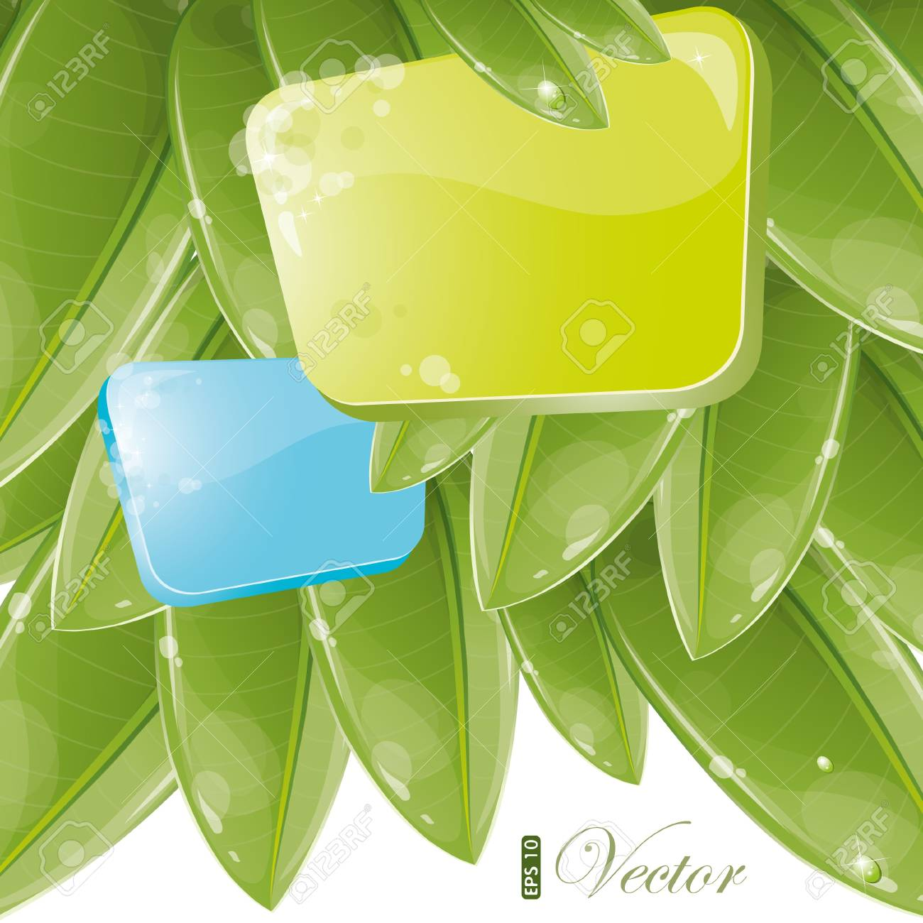 Blue and green form with foliage, vector illustration, eps-10 Stock Vector - 9722084