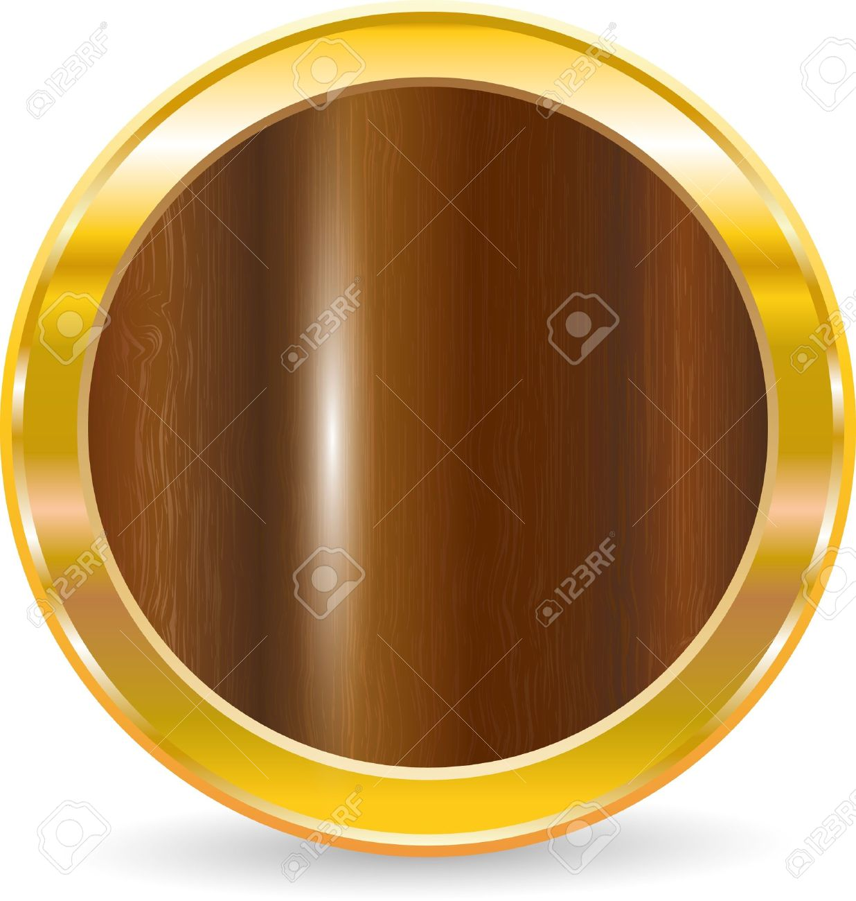 Gold circle frame with wood texture, vector illustration Stock Vector - 9764855