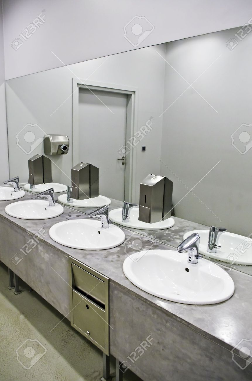 Sinks In The Public Toilet Stock Photo