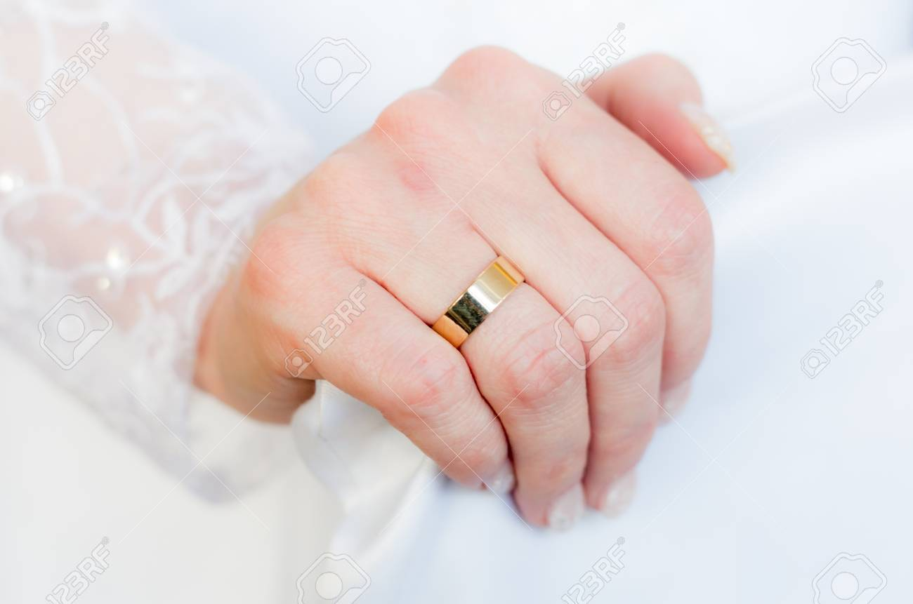 Gold Wedding Ring On Her Finger Bride On Her Wedding Day Stock Photo ...