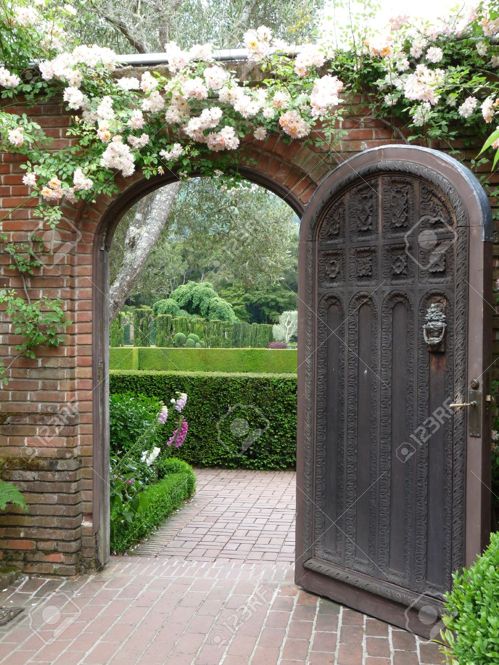 Open door to the garden & Open Door To The Garden Stock Photo Picture And Royalty Free Image ...