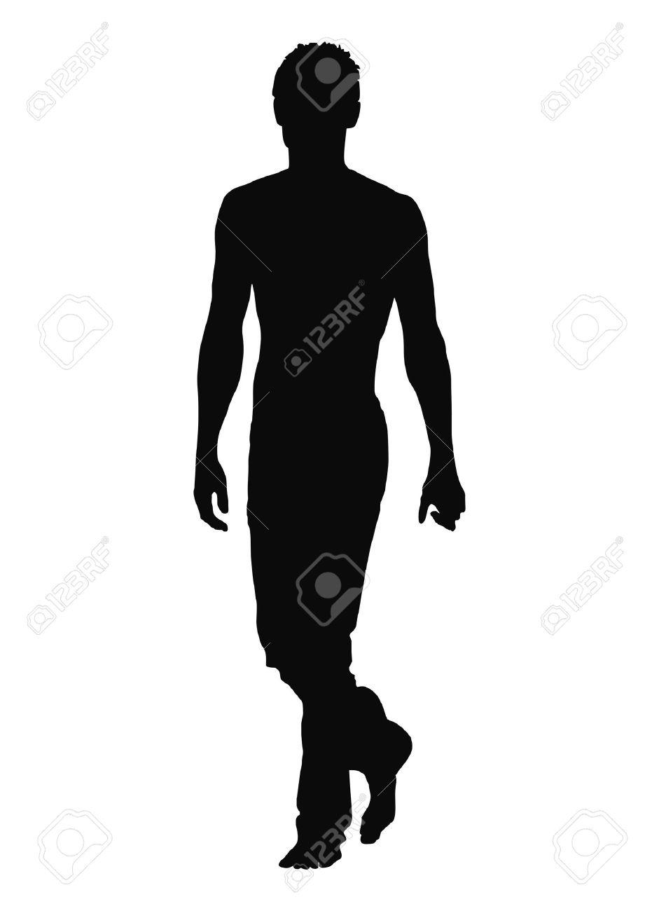 Silhouette of walking man. Vector illustration. - 11474877