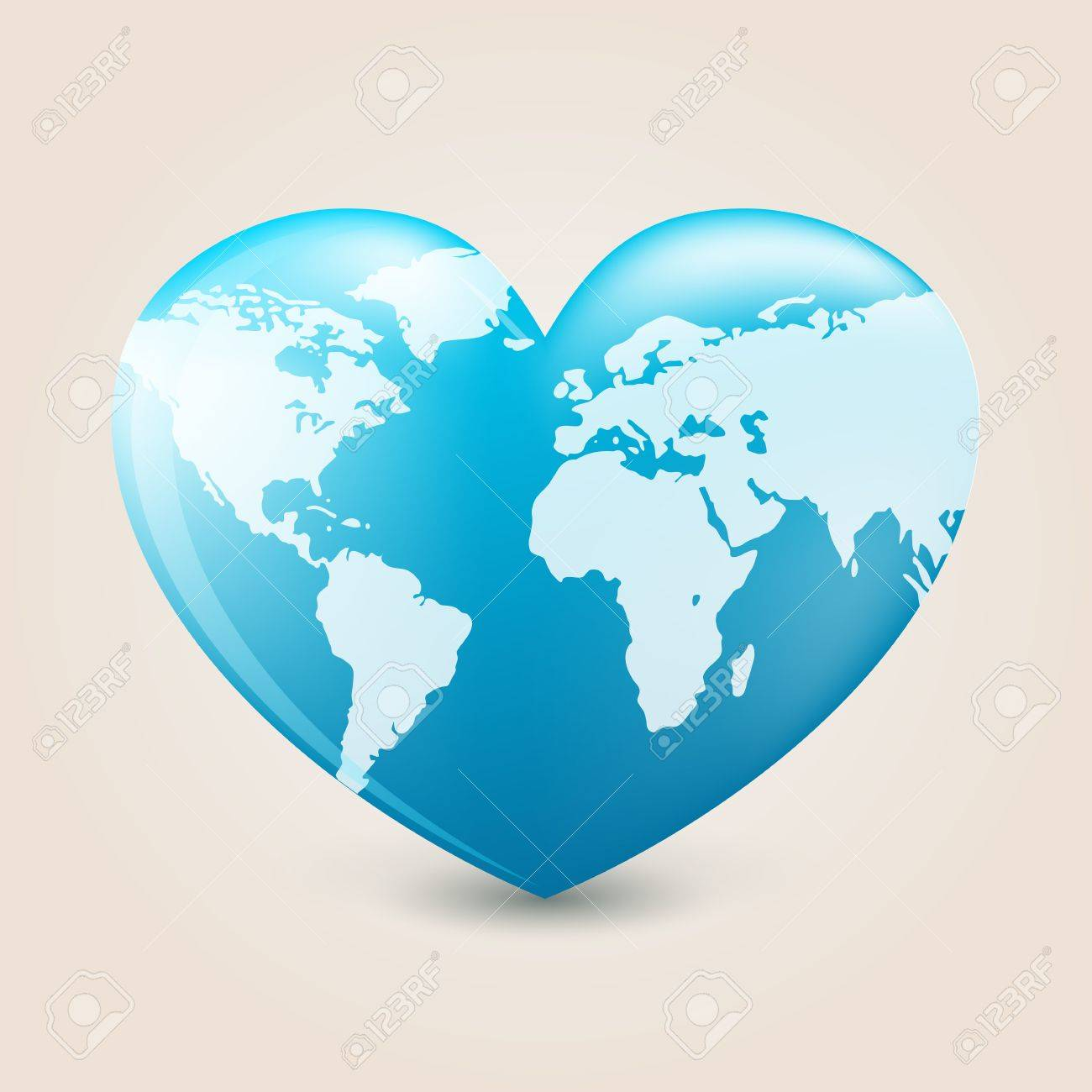 Heart with earth mapping Stock Vector - 14123001