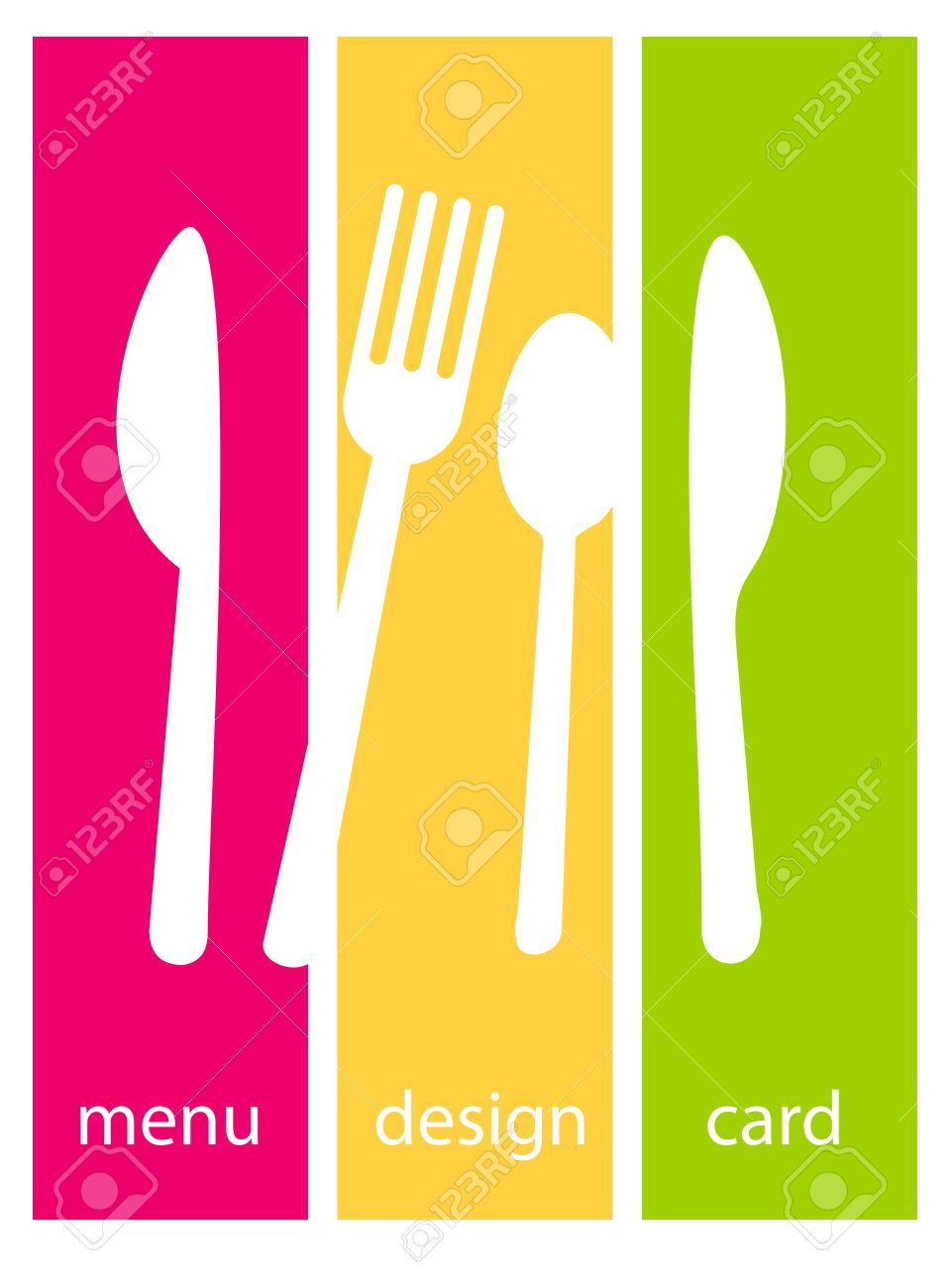 Cute design of menu template card  Fork, knife and spoon silhouettes on colourfull backgrounds Stock Vector - 15152415