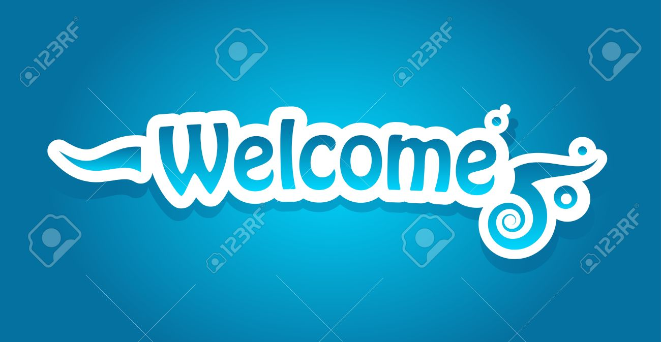 welcome lettering on blue background royalty free cliparts vectors