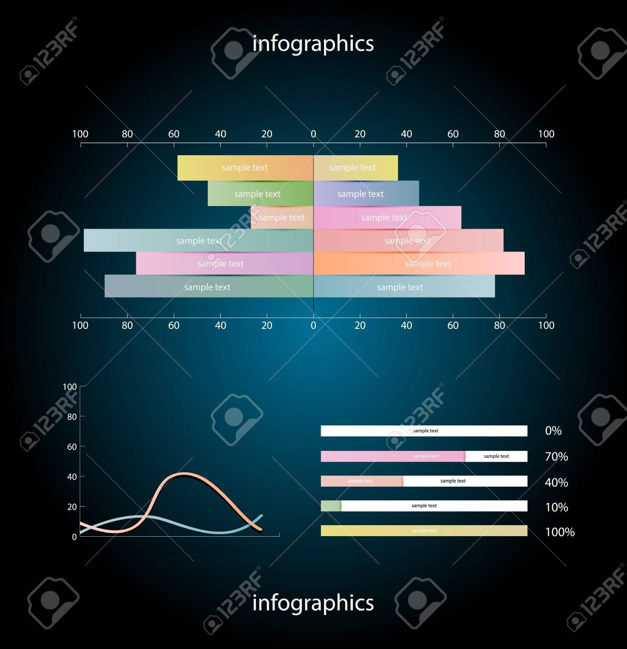 Infographics elements over dark background Stock Vector - 15777977