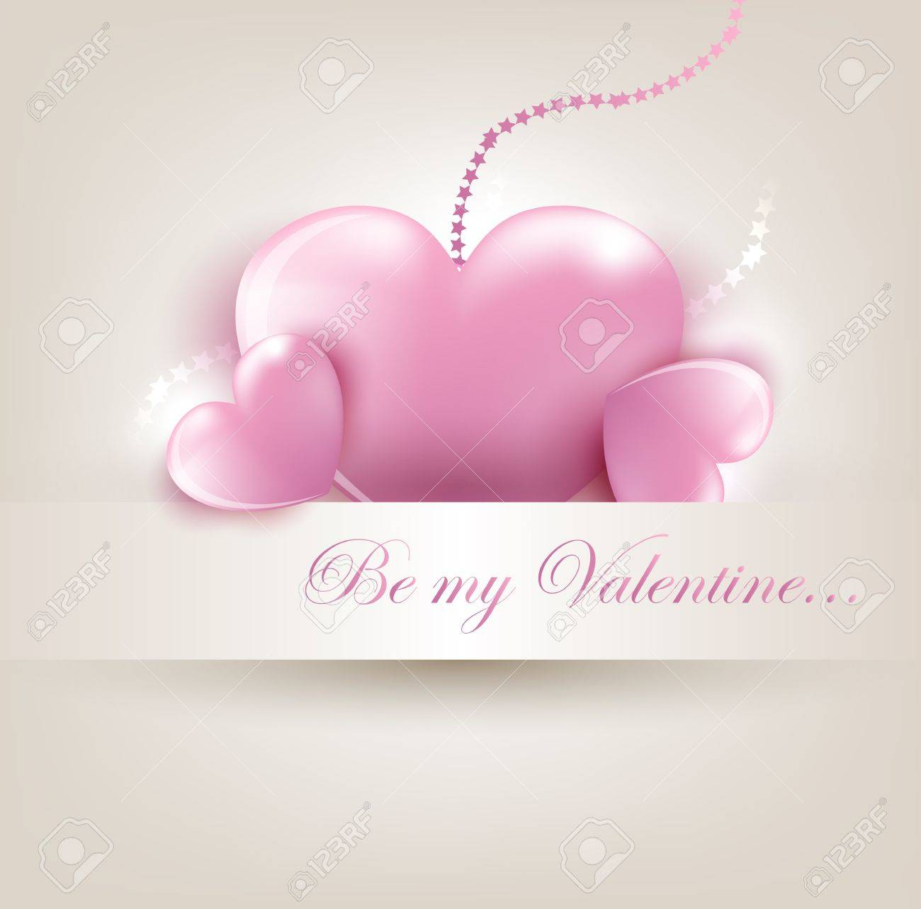 Valentin s Day card with pink hearts Stock Vector - 17530072