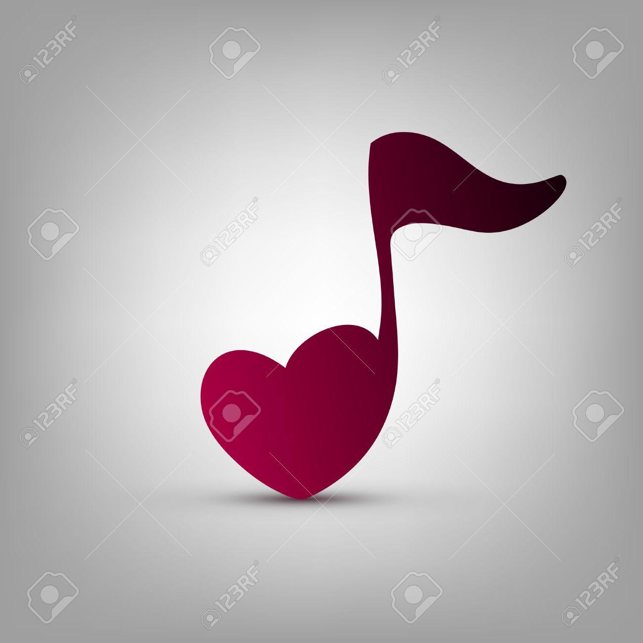 Musical note heart shape vector logo design template - 43623495