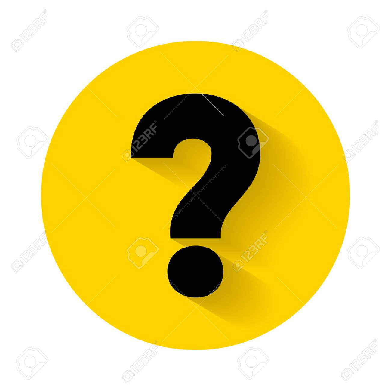 Question mark with shadow isolated on yellow background - 55087585