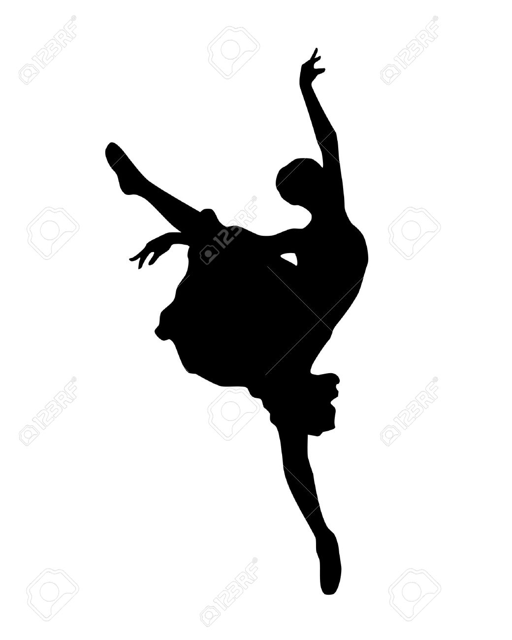 ballerina silhouette Isolated on white background Stock Vector - 14496311