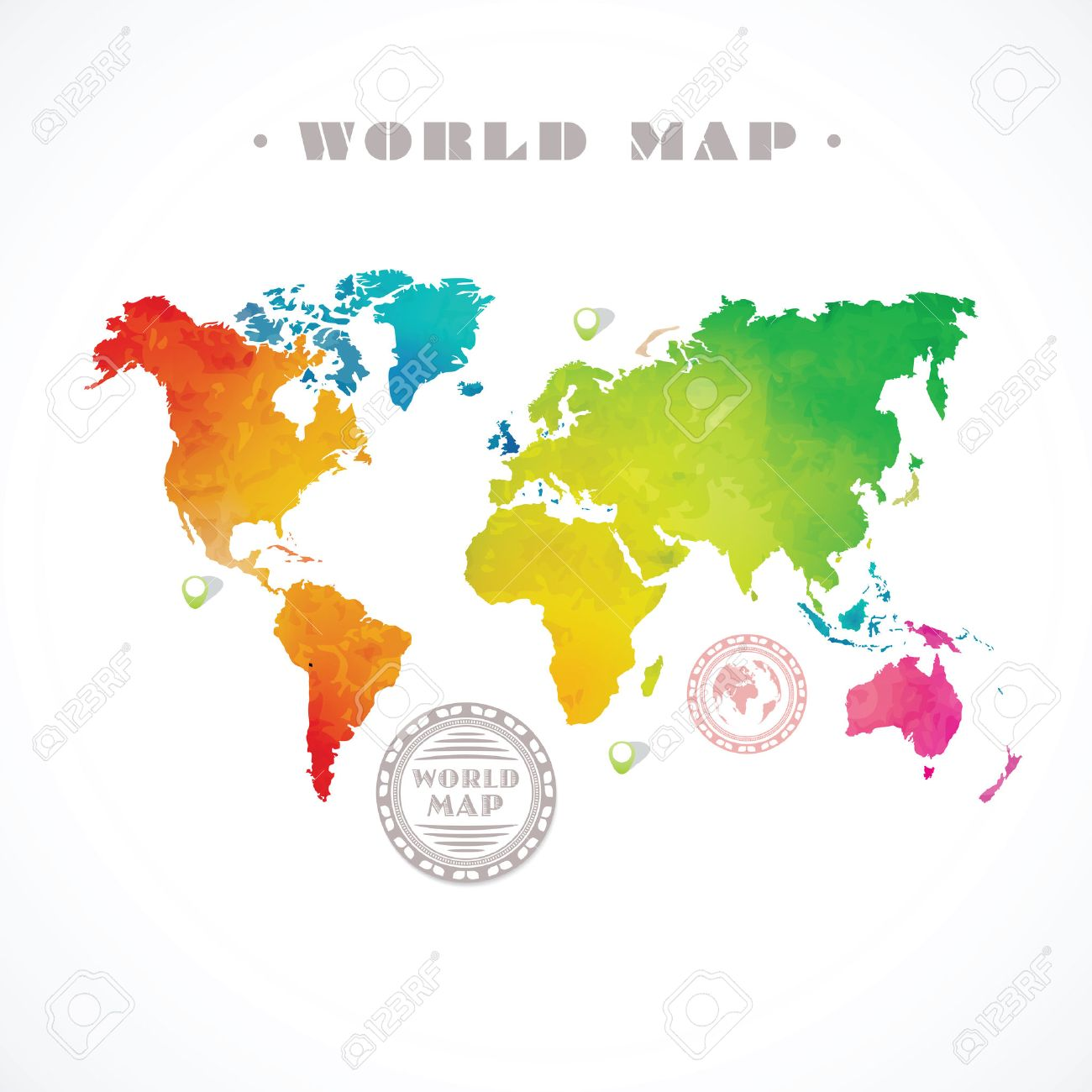 Vector water colour world map and info graphic elements on white vector vector water colour world map and info graphic elements on white background gumiabroncs Gallery