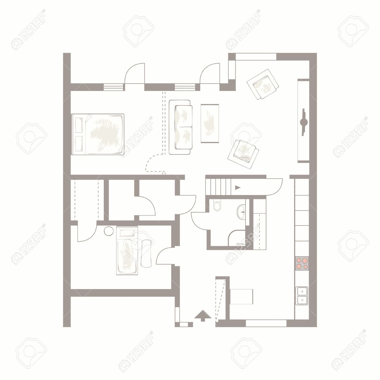 Architectural Background Vector Drawing Of Building Plan With  # Muebles Dibujo Arquitectonico