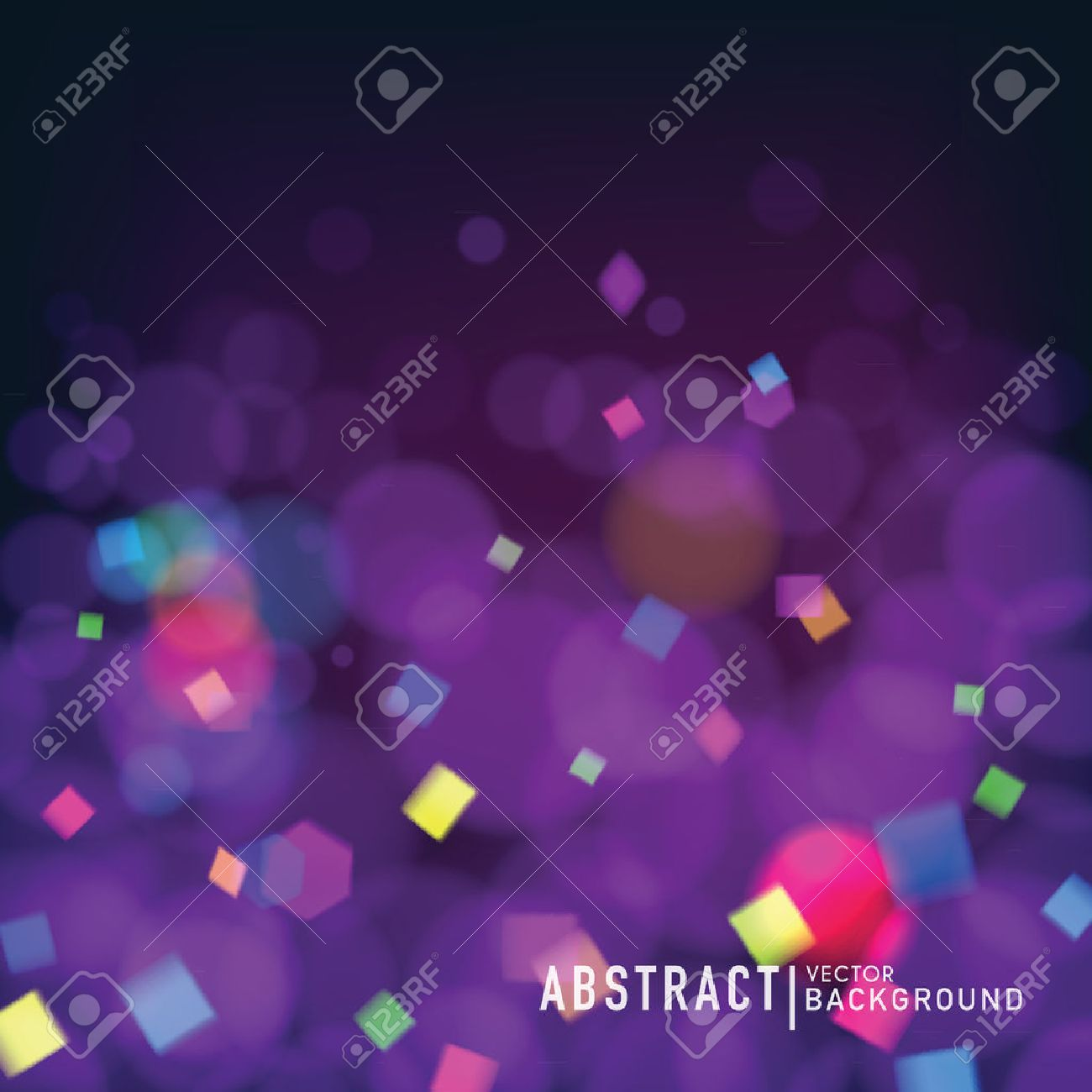 Abstract blurry background with bokeh effect and confetti. Wallpaper for celebrate or party invitation design