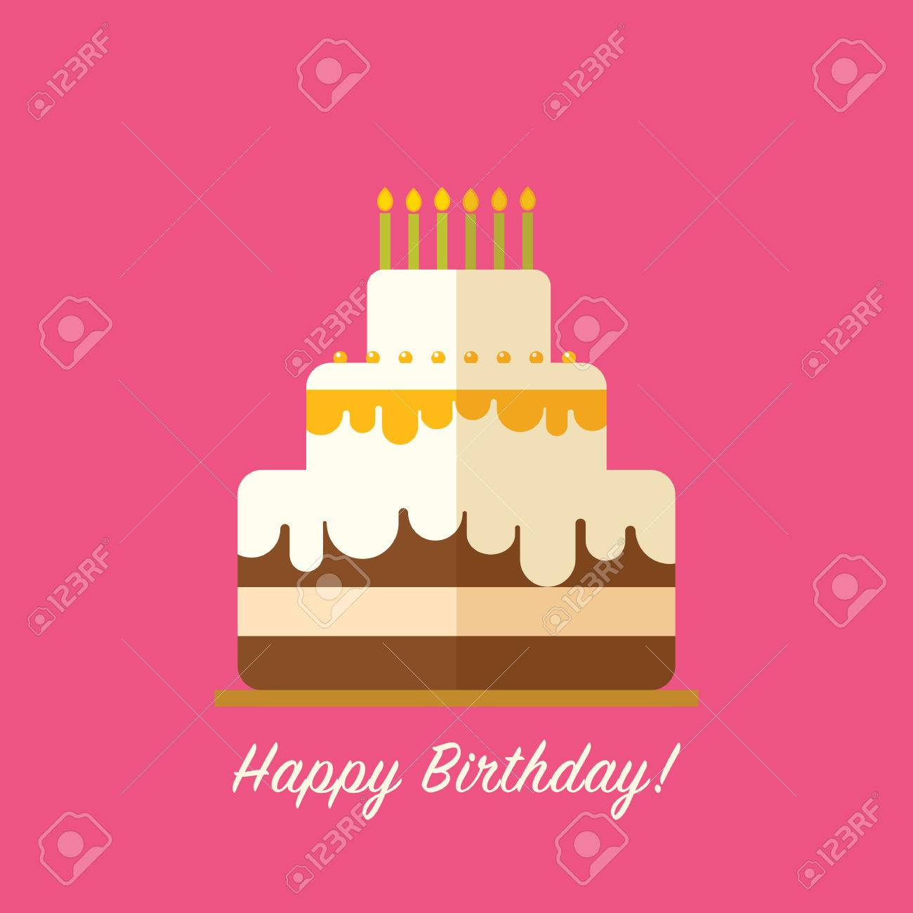 Happy Birthday Cake For Greeting Card Design Isolated In Flat