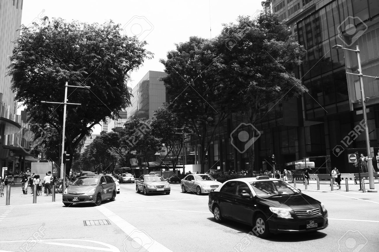 Orchard road singapore black and white street photography stock photo 23106188