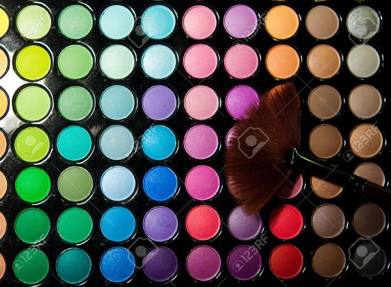 Makeup set. Professional multicolor eyeshadow palette Stock Photo - 9143942