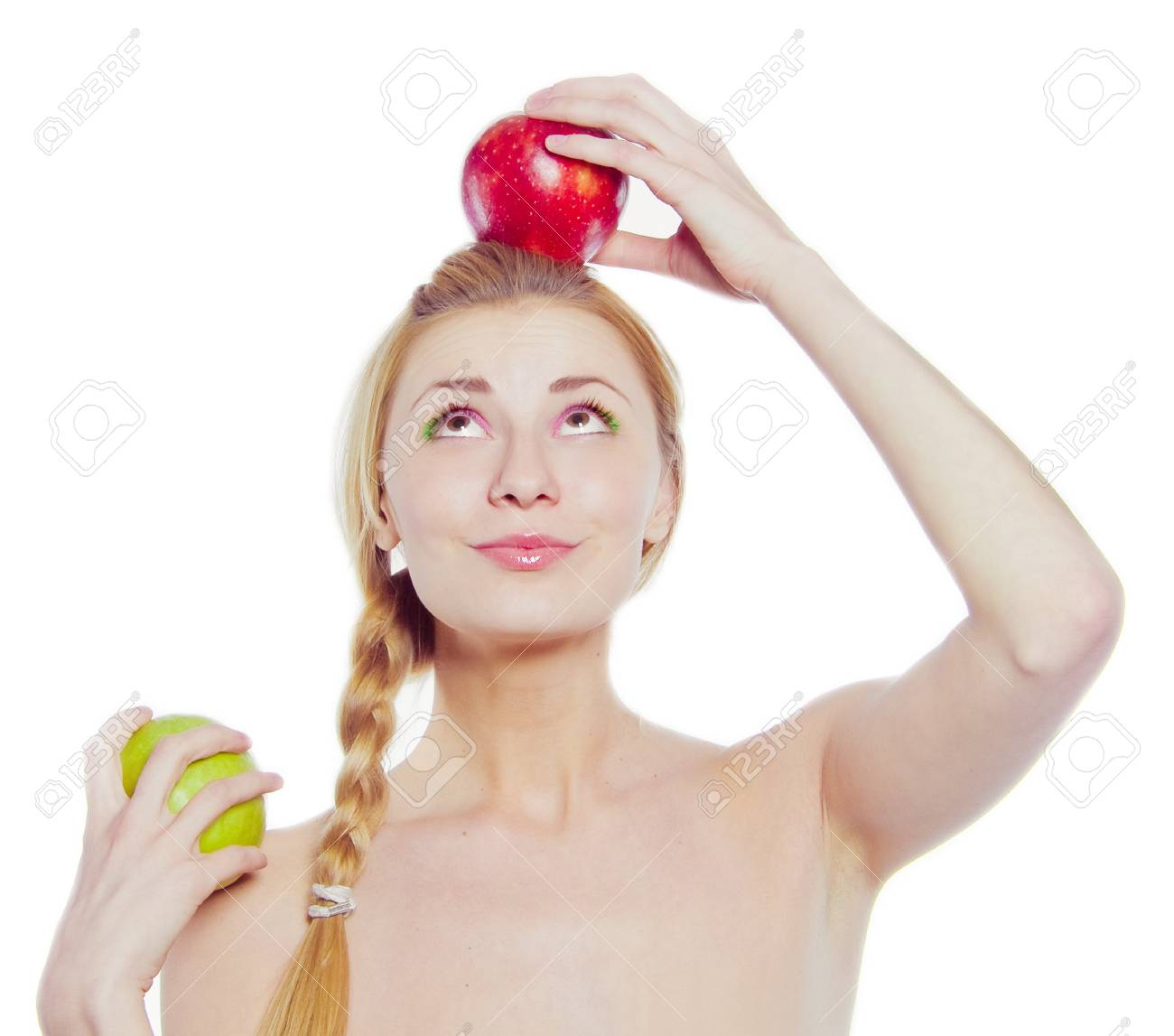 woman with green and red apple isolated on white Stock Photo - 9433117