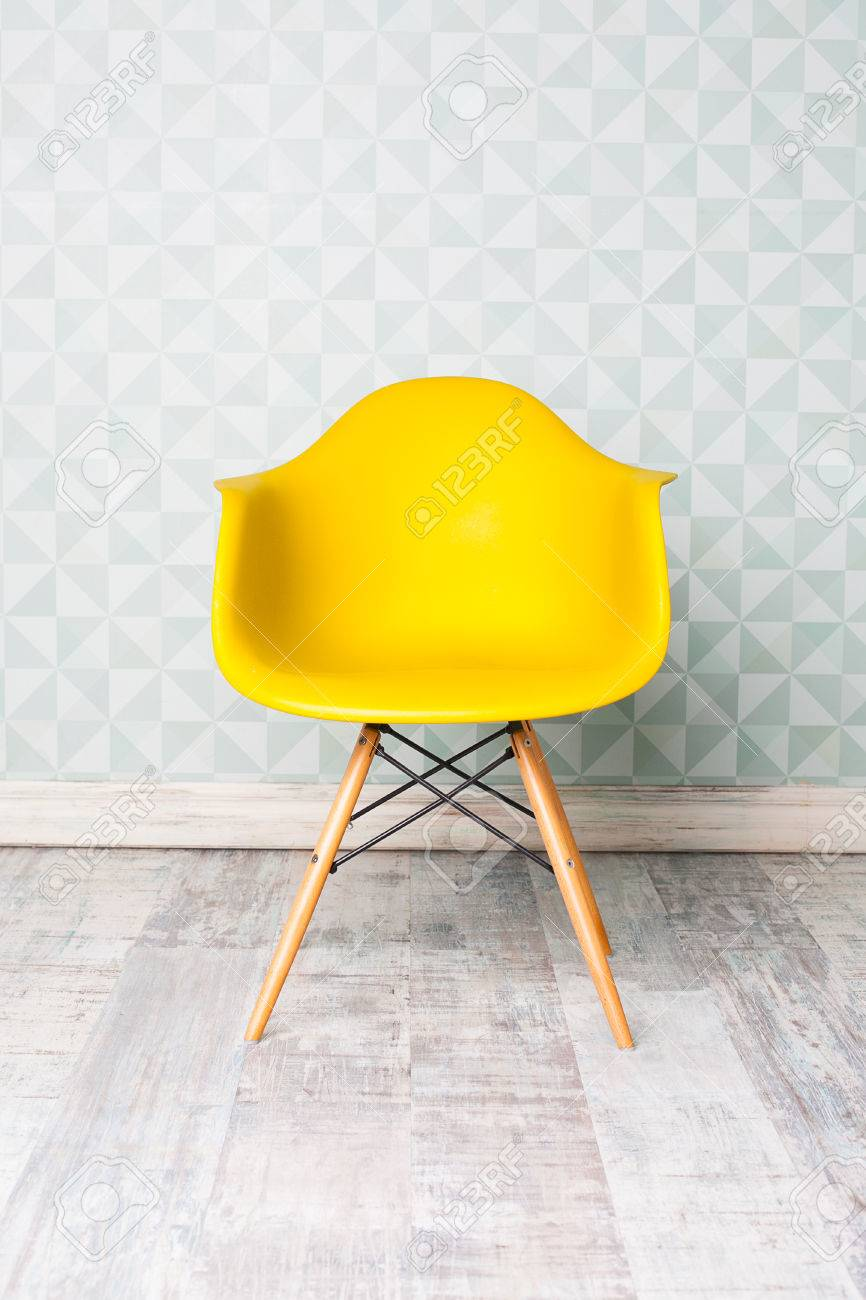modern yellow chair in room - 49072977