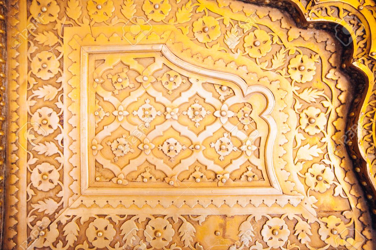 Old Golden Doors of the Jaipur City Palace. Rajasthan India. Stock Photo - & Old Golden Doors Of The Jaipur City Palace. Rajasthan India. Stock ...