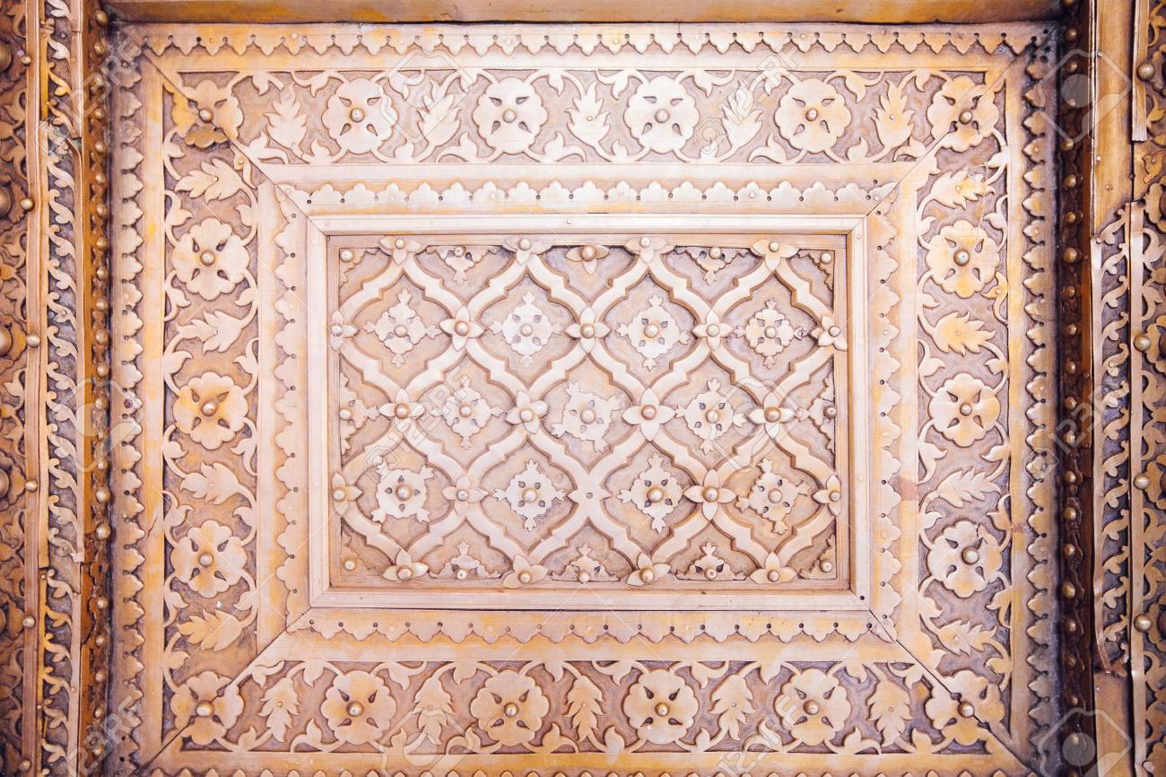 Old Golden Doors of the Jaipur City Palace. Rajasthan, India. - 87760525