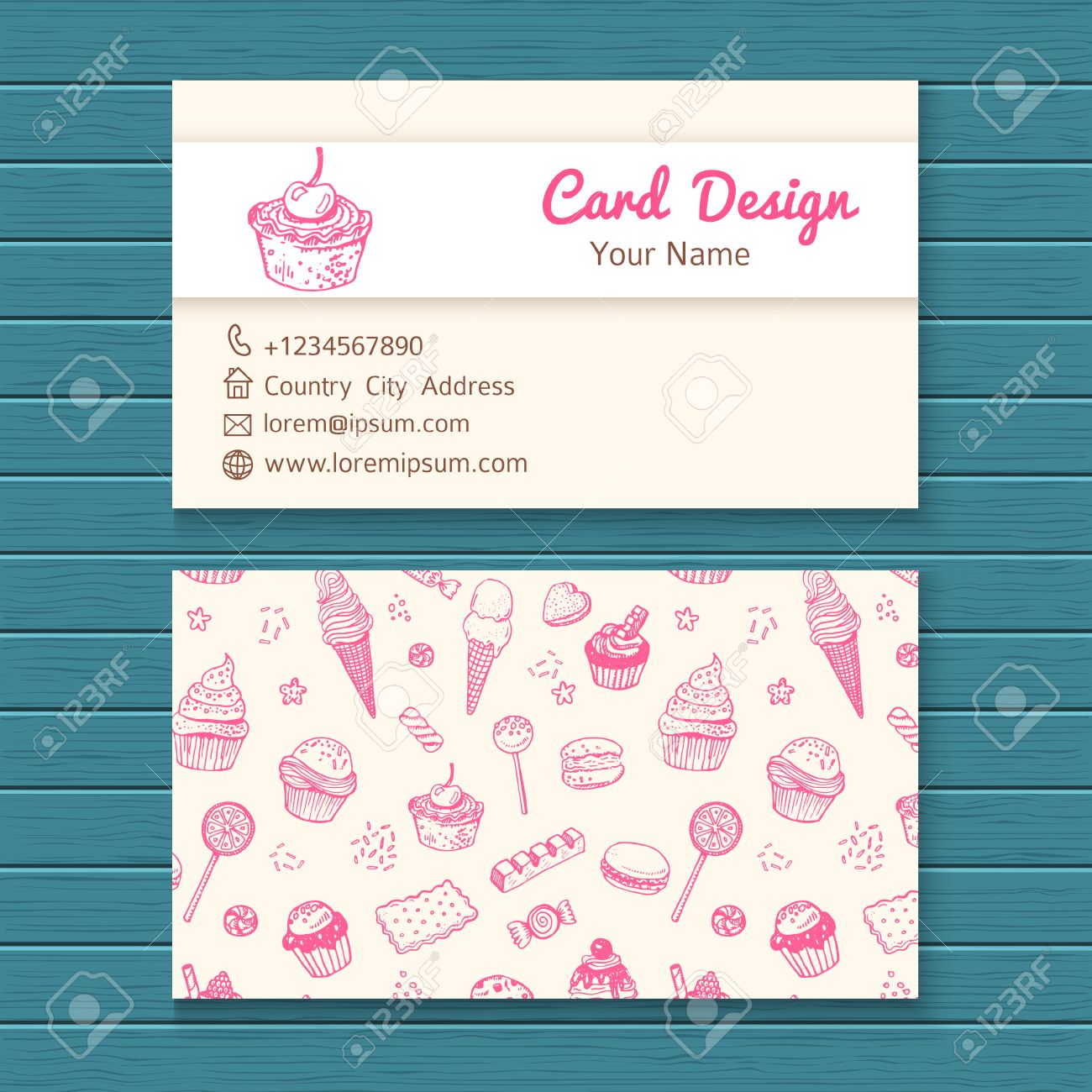 business card template with hand drawn sweets set royalty free