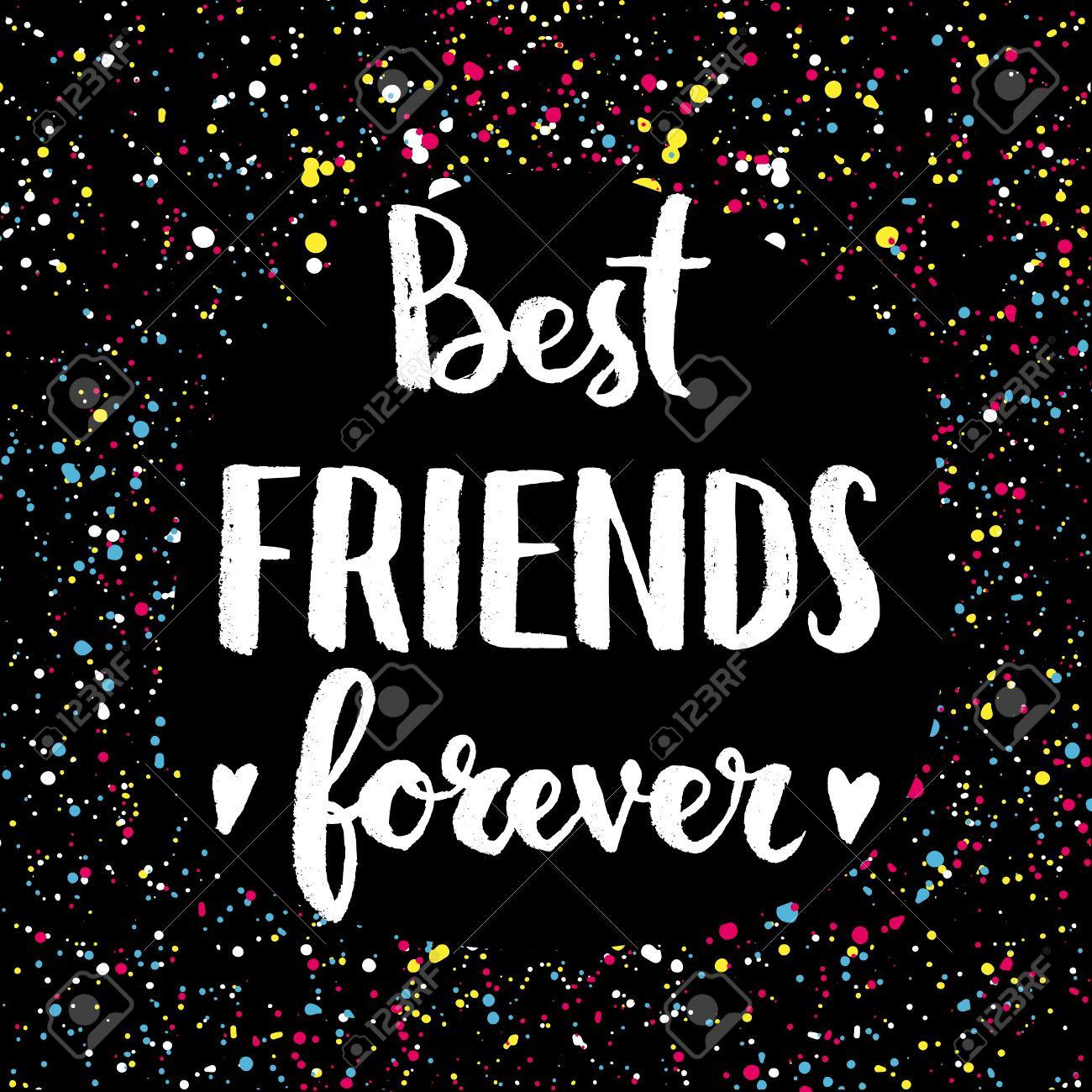 Best Friends Forever Hand Lettering Quote On A Creative Vector