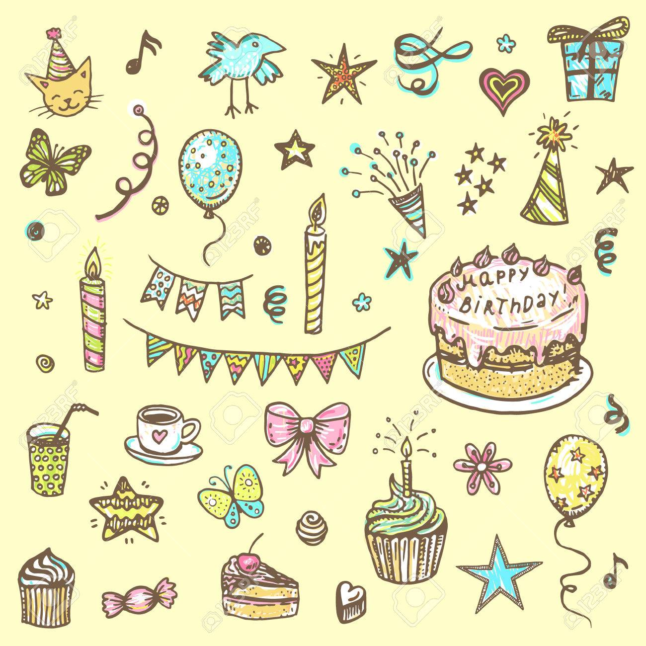 Birthday Elements Hand Drawn Set With Cake Balloons Gift And Festive Attributes
