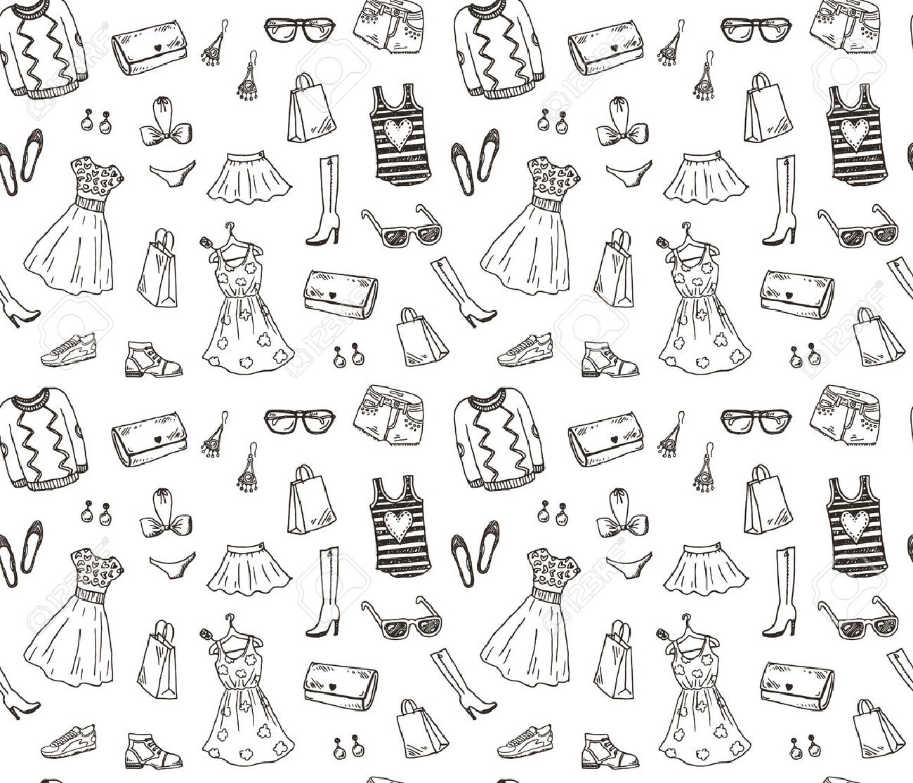 Women clothes and accessories, hand drawn doodle seamless pattern - 41724922