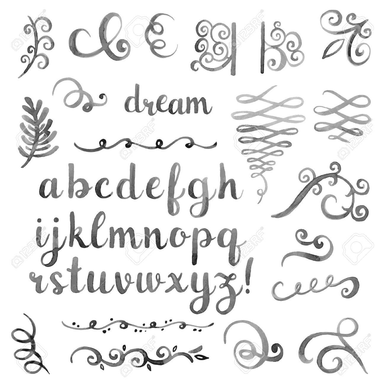 Hand Drawn Elegant Watercolor Calligraphic Font Royalty Free ...