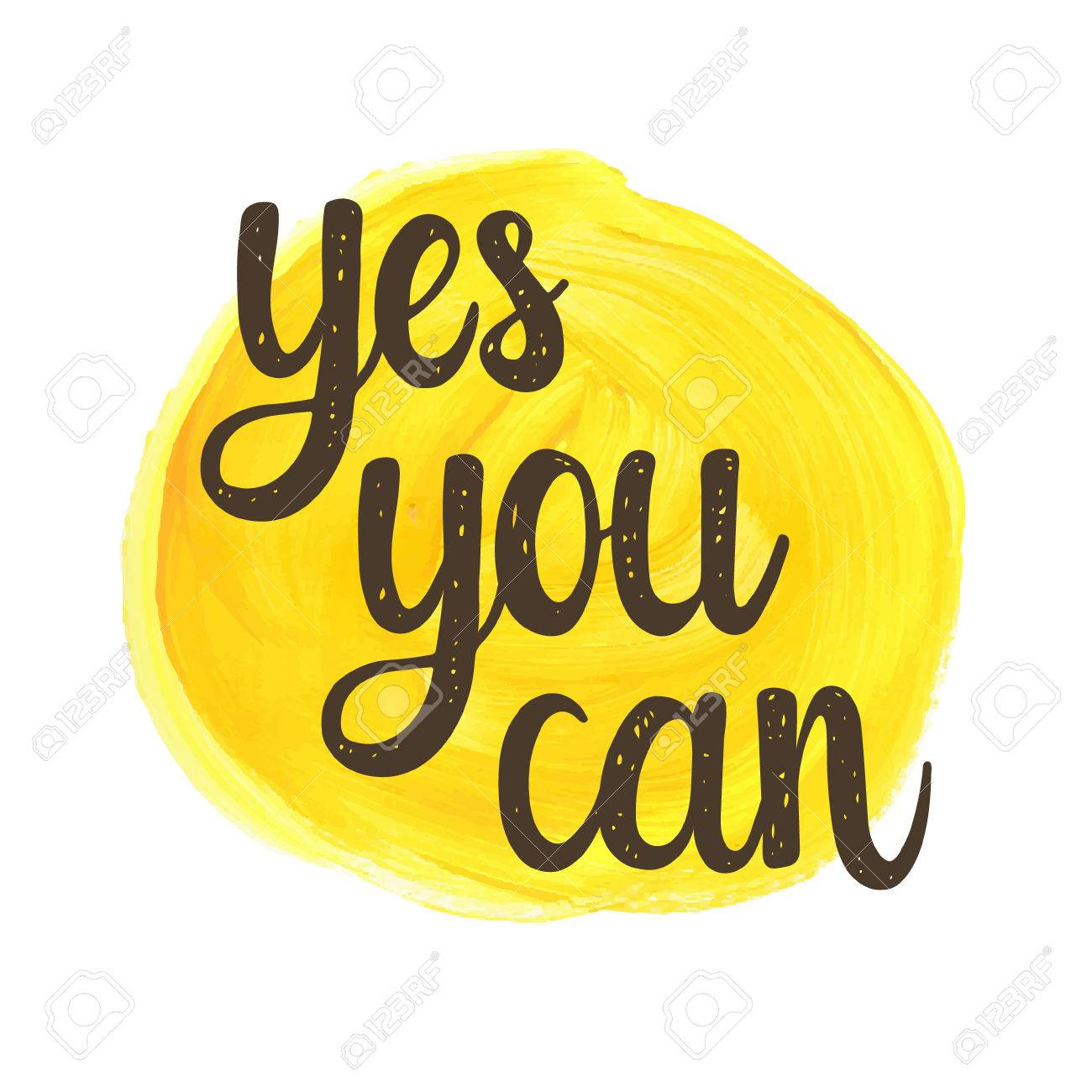 Stock illustration 3d red text quot yes quot stock illustration royalty - Yes You Can Yes You Can Hand Drawn Calligraphic Motivational Quote On A Watercolor