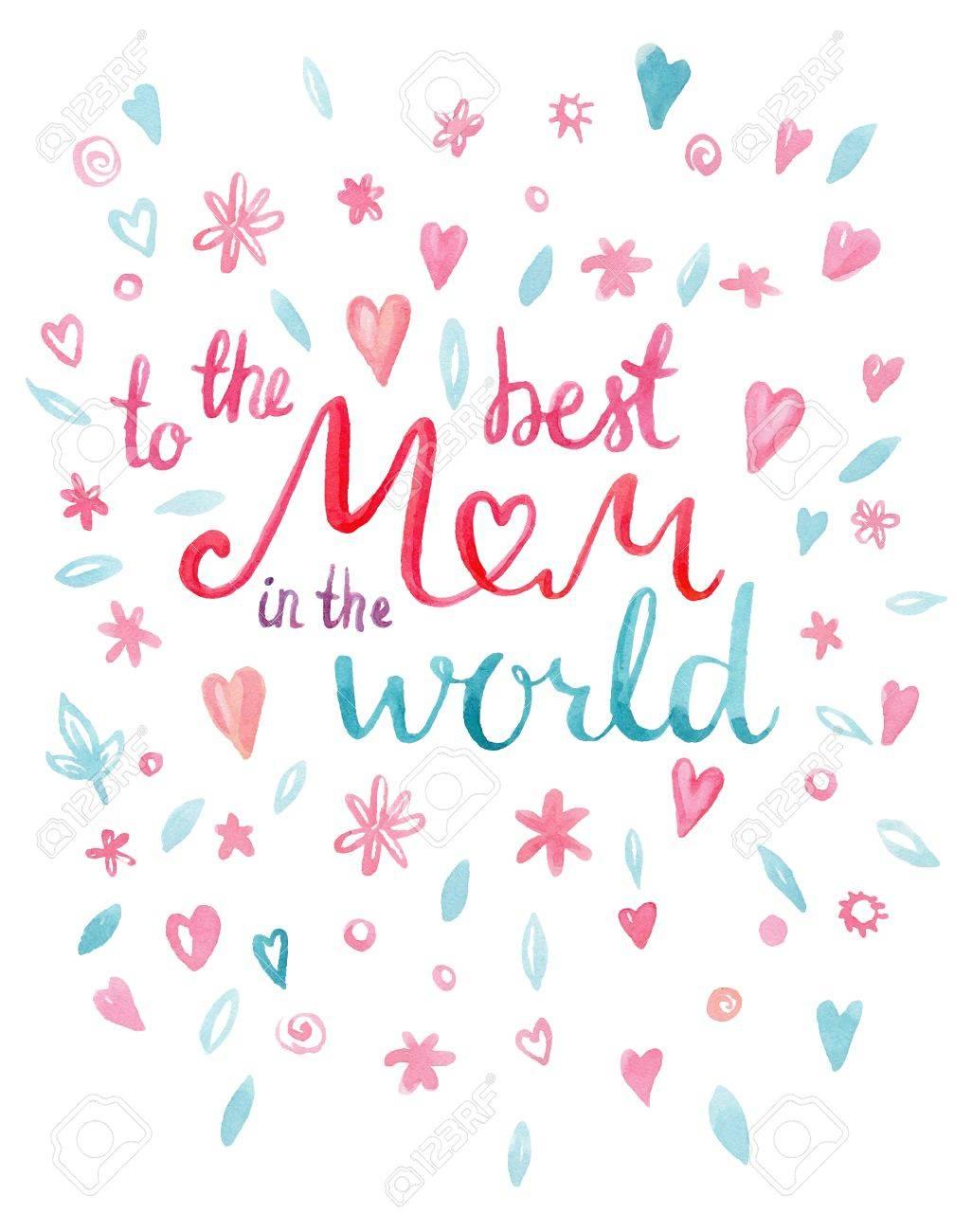 Um Die Beste Mutter In Der Welt Hand Gezeichnet Aquarell Grußkarte