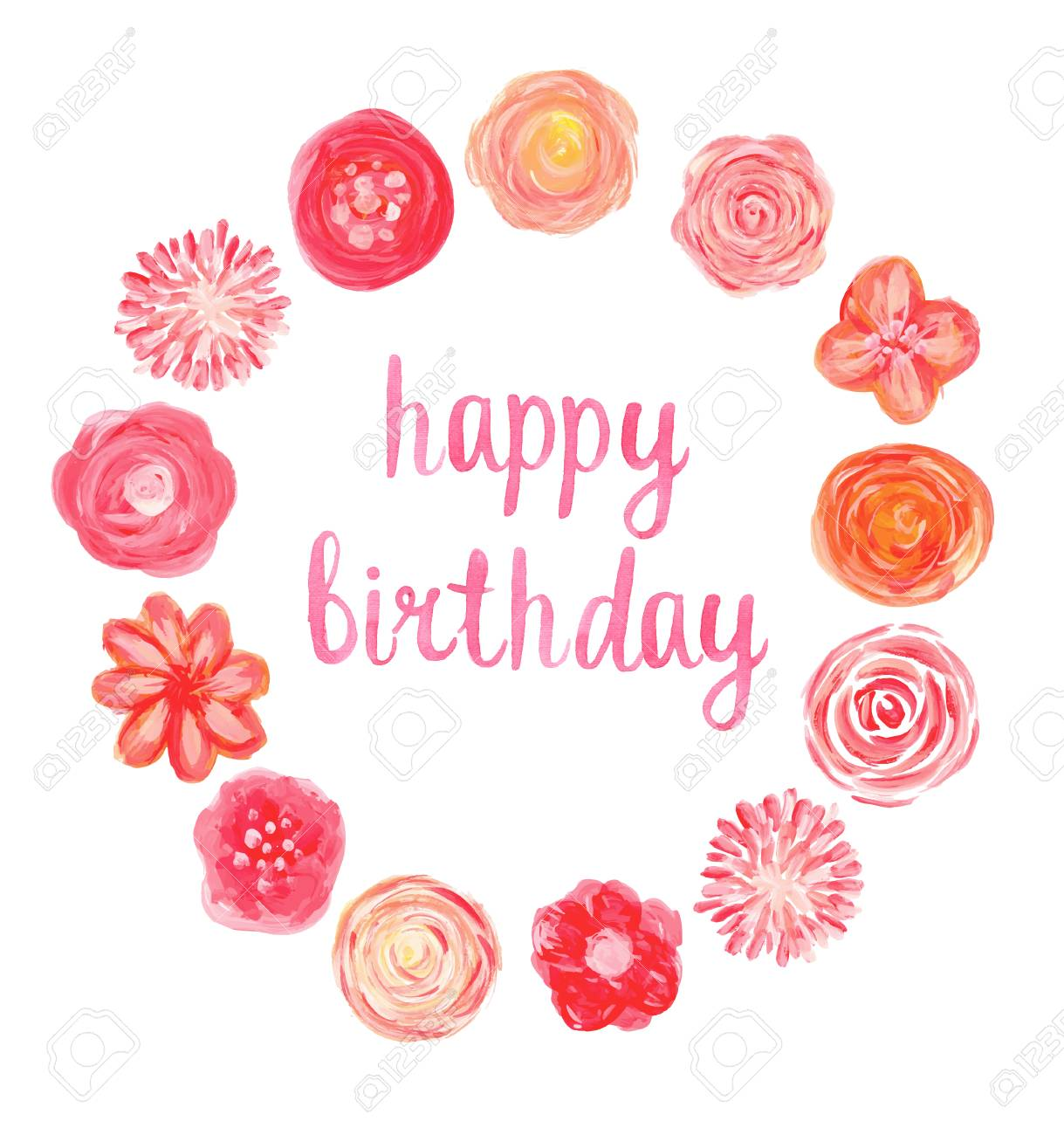 Happy birthday watercolor card with hand painted flower frame happy birthday watercolor card with hand painted flower frame stock vector 41723994 izmirmasajfo