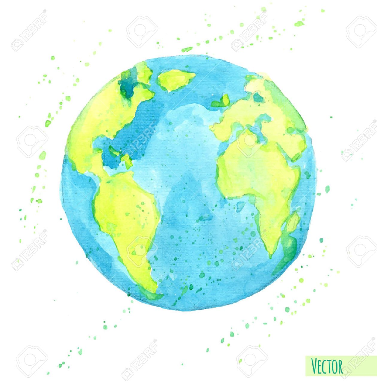 Hand drawn watercolor Earth, isolated illustration. - 41723835