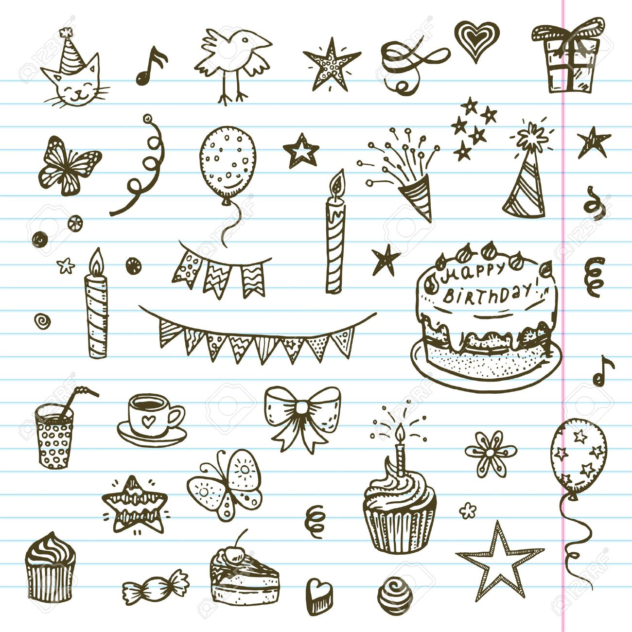Birhday Elements Hand Drawn Set With Birthday Cake Baloons