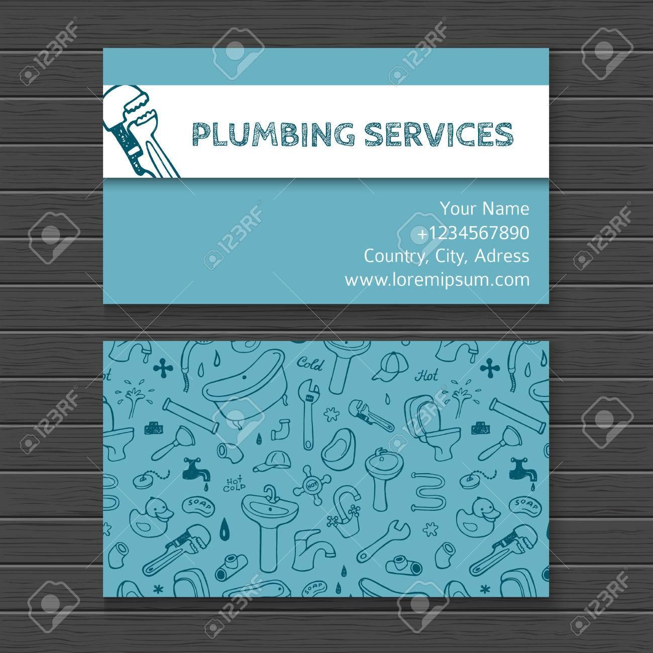 Hand drawn watercolor business card mock up with plumbing doodle hand drawn watercolor business card mock up with plumbing doodle icons stock vector 41722841 colourmoves