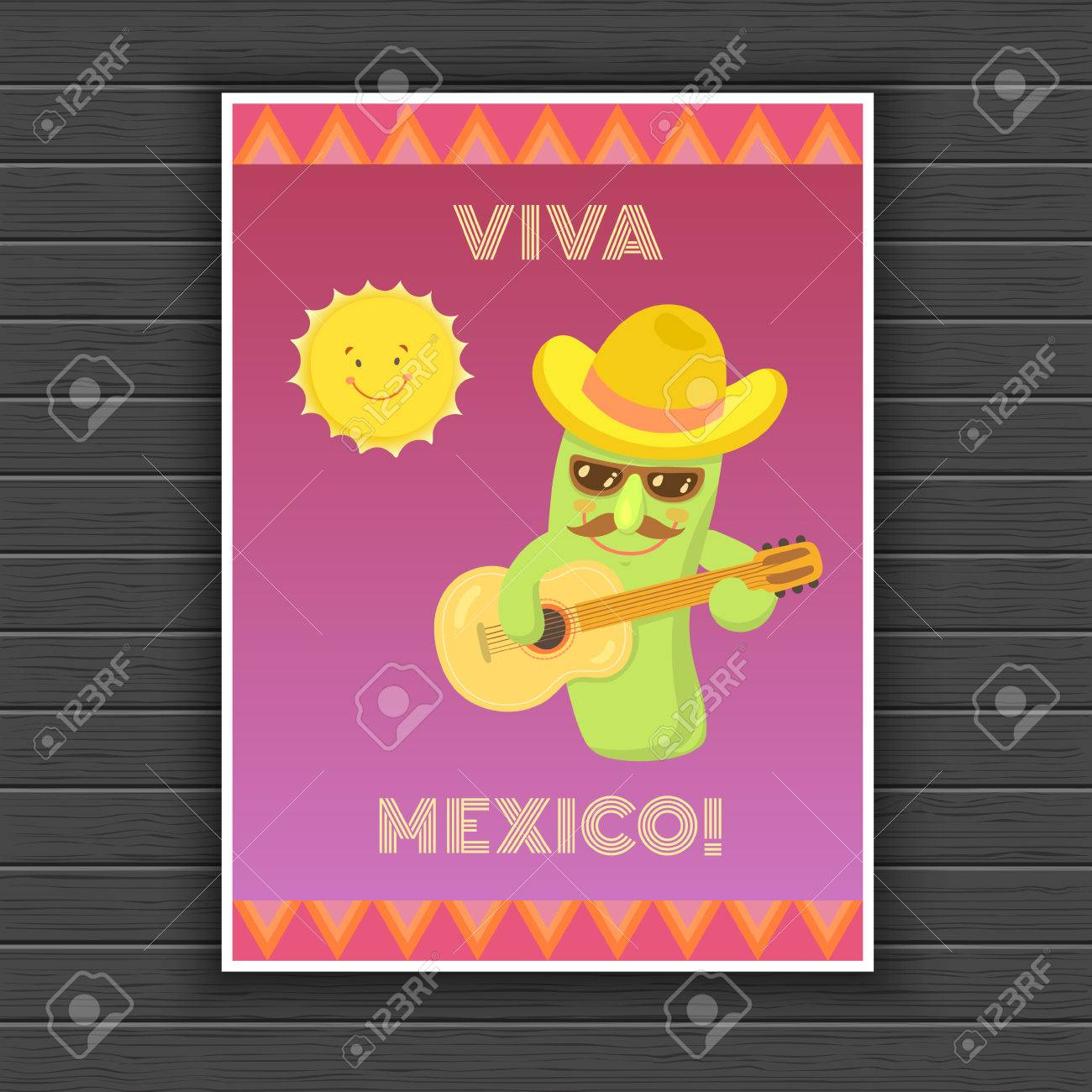 Mexican Cactus Cartoon Characters With Mustache 1d4026ffa81