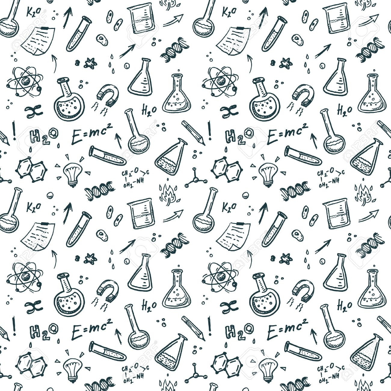 hand drawn chemistry seamless pattern science background royalty