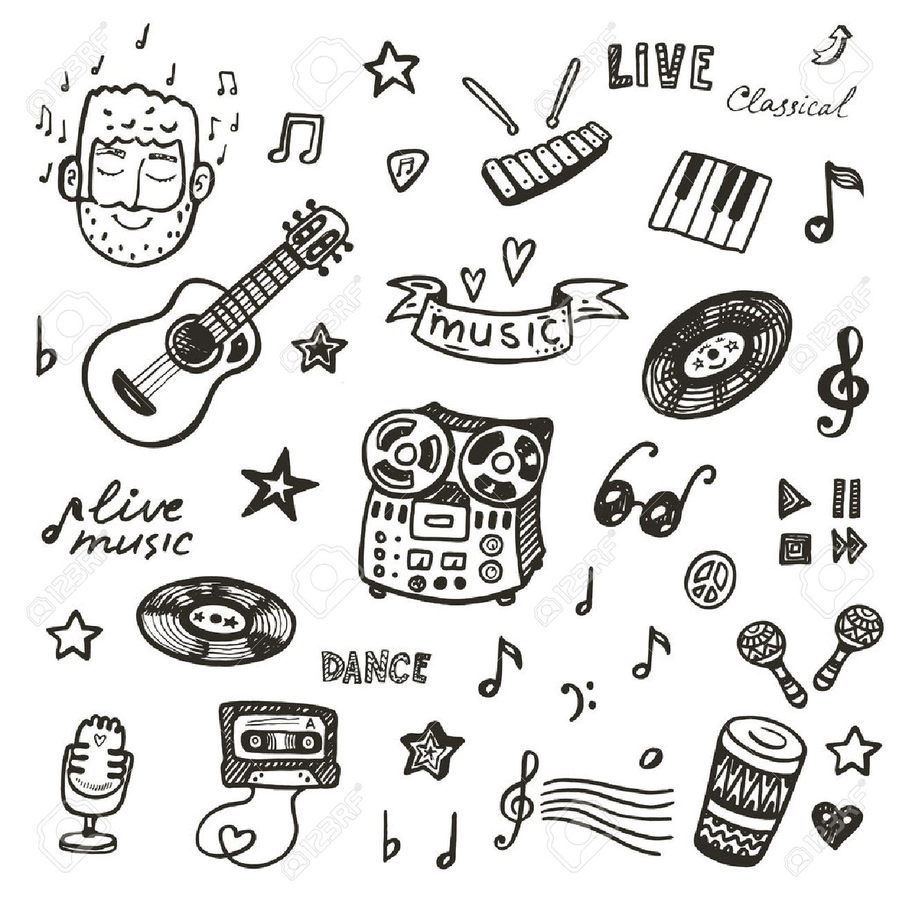 hand drawn musical instruments collection music set royalty free
