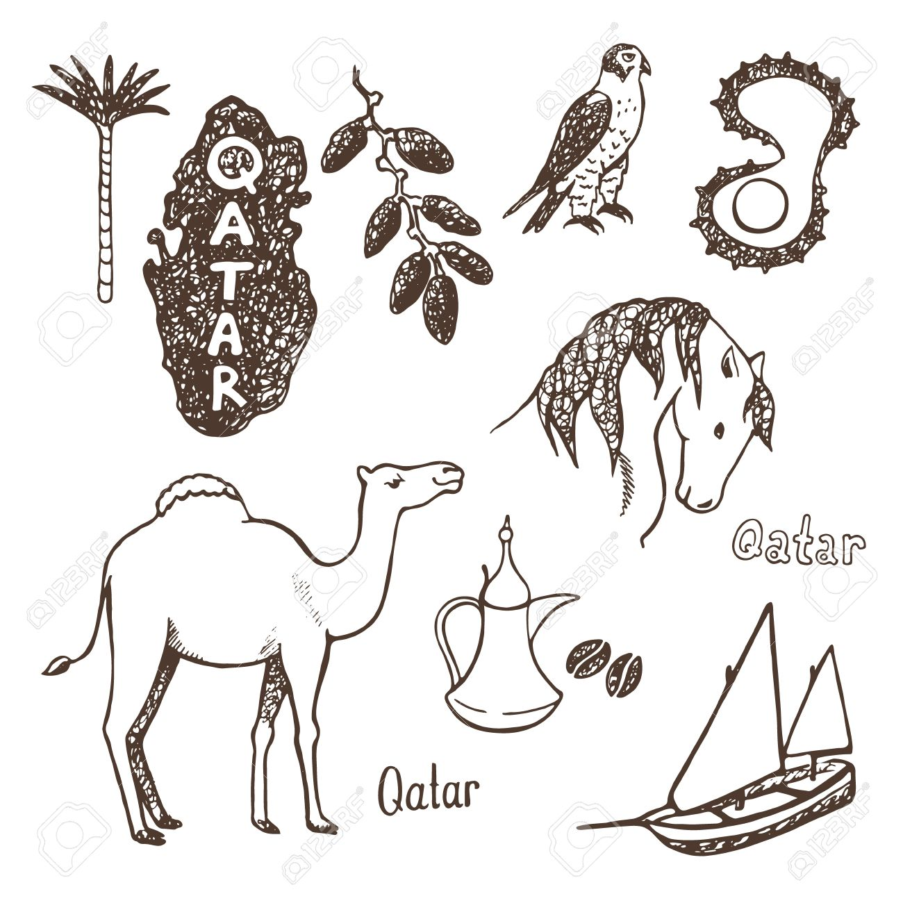 Qatar Country Sketch Icons Collection Stock Vector