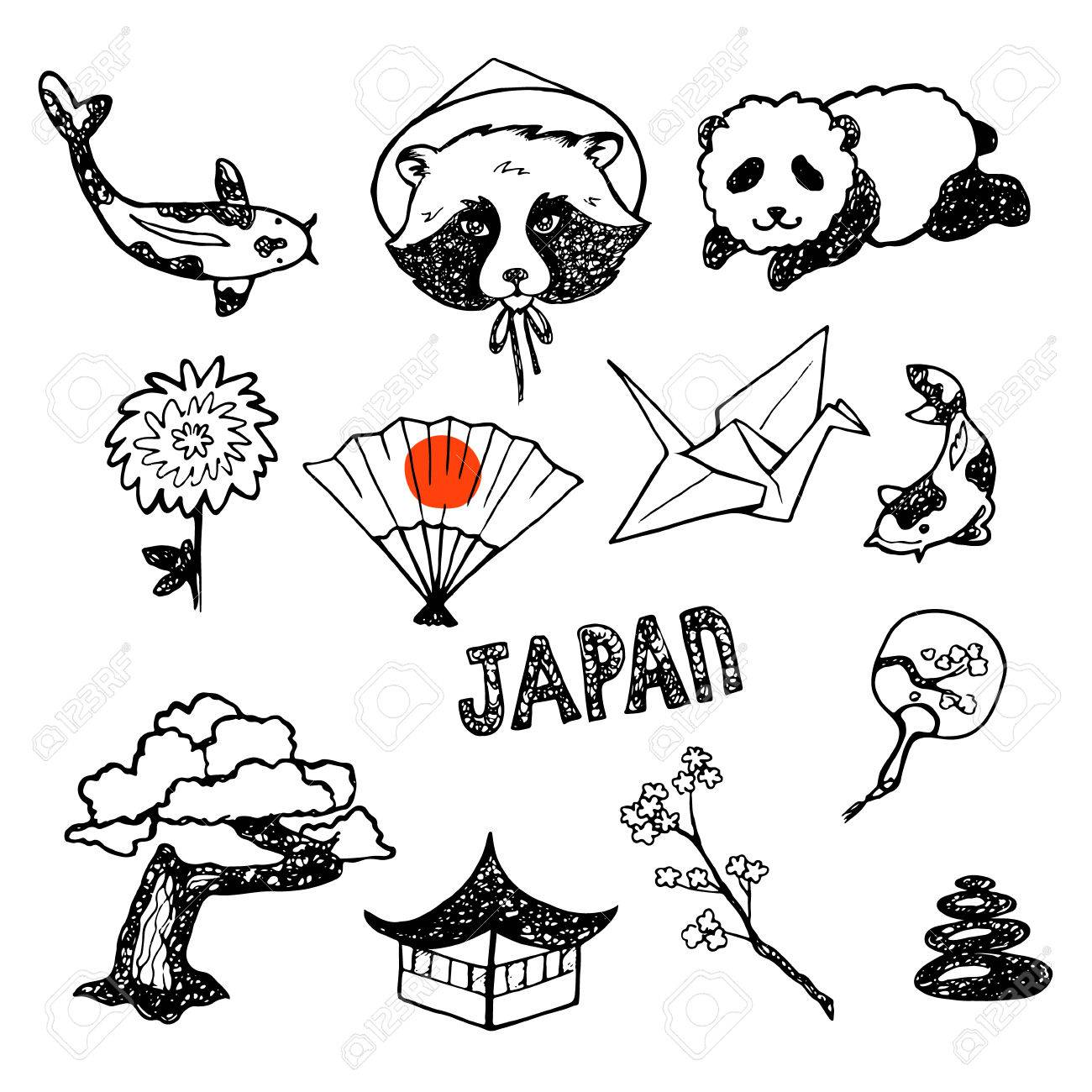 The Set Of Elements Of Japanese Culture Hand Drawn Vector Icons Collection Stock Vector