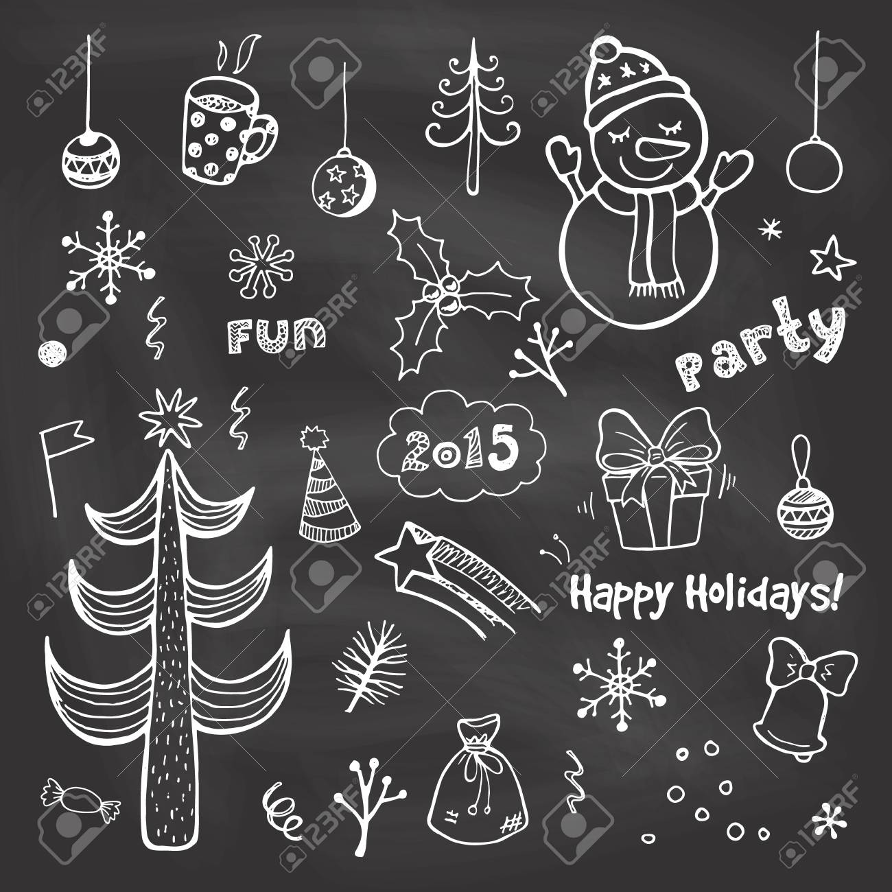 Vintage Christmas Chalkboard Funny Hand Drawn Vector Set Royalty Free Cliparts Vectors And Stock Illustration Image 42280181