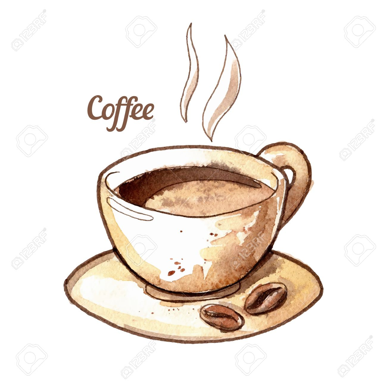 hand drawn watercolor coffee cup illustration royalty free cliparts