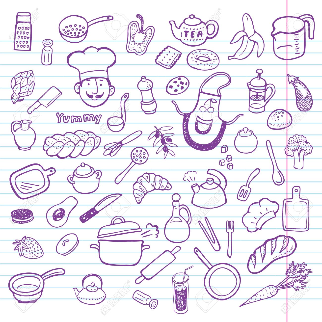 Hand Drawn Cooking And Kitchen Set Royalty Free Cliparts Vectors