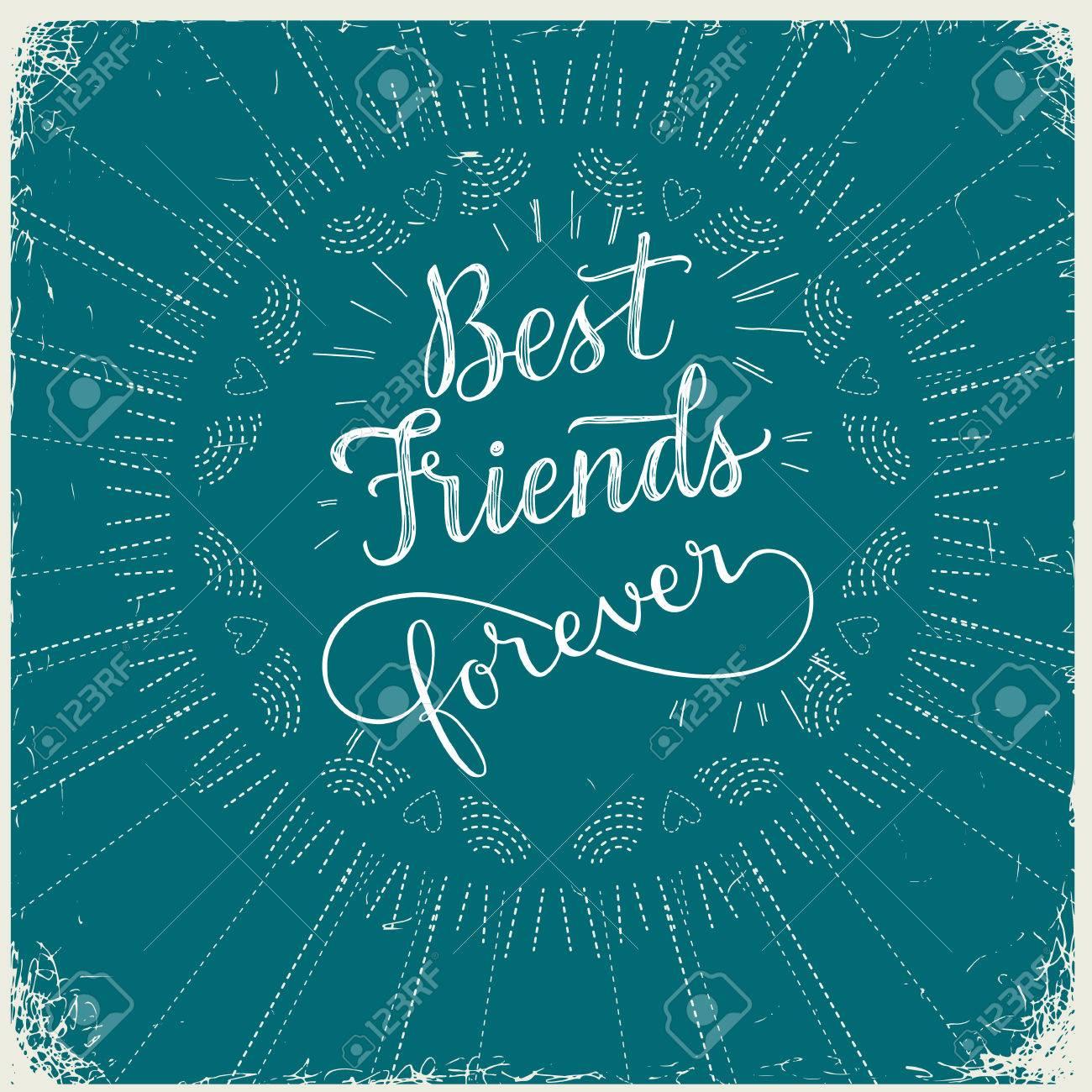 Best friend forever hand lettering phrase vector illustration best friend forever hand lettering phrase vector illustration retro greeting card for friendship m4hsunfo